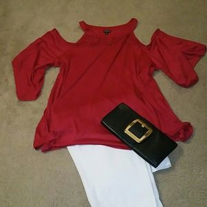 🌷Red Cold Shoulder Tunic🌷